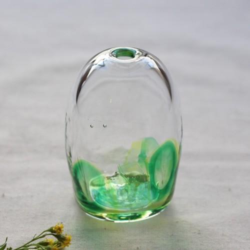 一輪挿し 手作り 花器 風船型 透明 midori 吹きガラス 花瓶 tonari|cayest|02