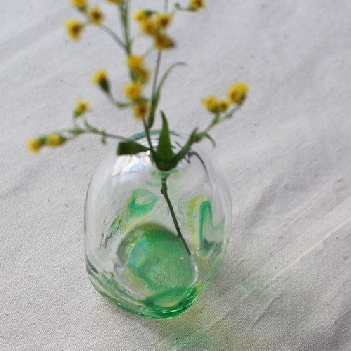 一輪挿し 手作り 花器 風船型 透明 midori 吹きガラス 花瓶 tonari|cayest|05
