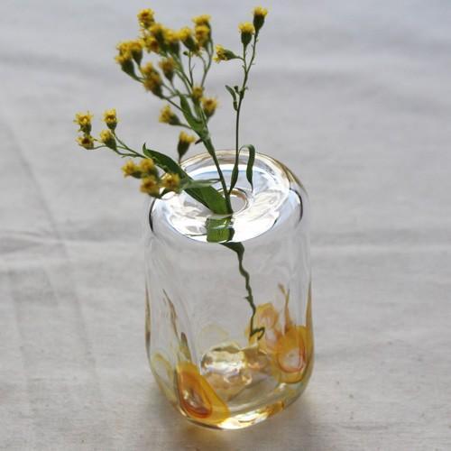 一輪挿し 手作り 花器 長方型 透明 黄色 吹きガラス 花瓶 tonari かわいい cayest