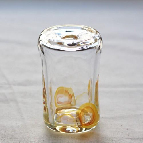 一輪挿し 手作り 花器 長方型 透明 黄色 吹きガラス 花瓶 tonari かわいい cayest 02