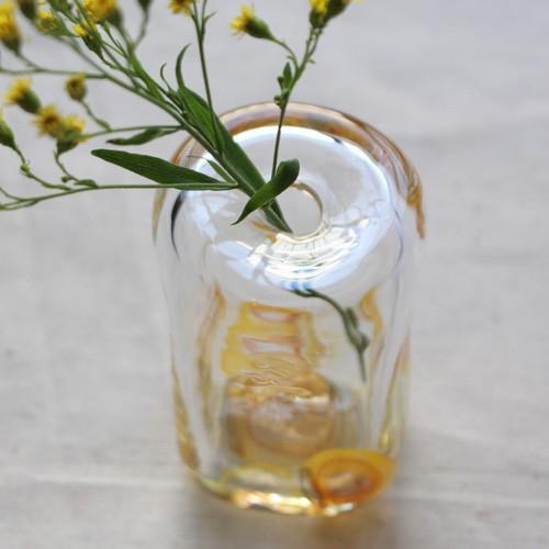 一輪挿し 手作り 花器 長方型 透明 黄色 吹きガラス 花瓶 tonari かわいい cayest 05