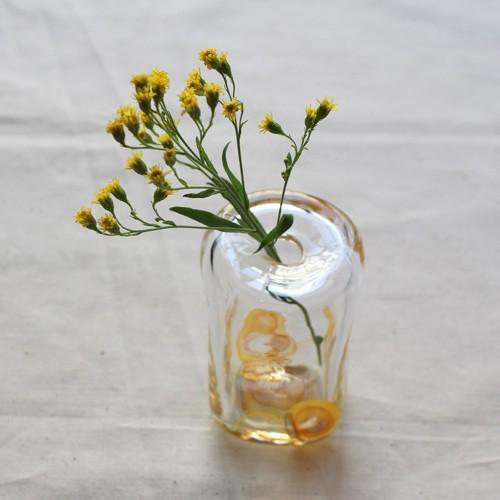一輪挿し 手作り 花器 長方型 透明 黄色 吹きガラス 花瓶 tonari かわいい cayest 06