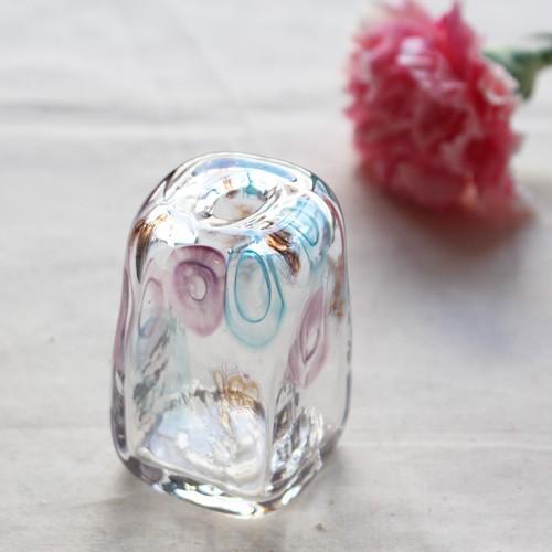 一輪挿し 手作り 花器 長方型 透明 ピンク/青 吹きガラス 花瓶 tonari|cayest