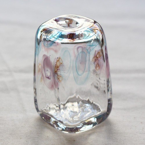 一輪挿し 手作り 花器 長方型 透明 ピンク/青 吹きガラス 花瓶 tonari|cayest|02