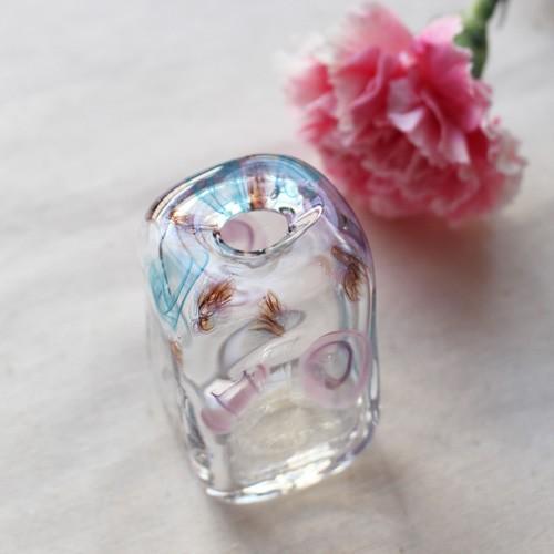 一輪挿し 手作り 花器 長方型 透明 ピンク/青 吹きガラス 花瓶 tonari|cayest|05