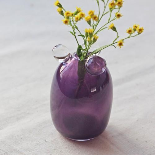 一輪挿し 手作り 花器 透明 つぶつぶ 紫 丸型 吹きガラス 花瓶 tonari cayest