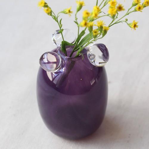 一輪挿し 手作り 花器 透明 つぶつぶ 紫 丸型 吹きガラス 花瓶 tonari cayest 02