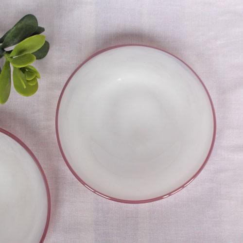 ガラス 白 小皿 ピンクフチ 15cm tonari 吹きガラス 手作り ガラス食器 かわいい ラブリー|cayest