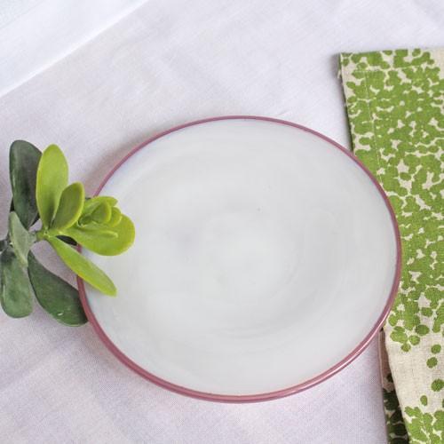 ガラス 白 小皿 ピンクフチ 15cm tonari 吹きガラス 手作り ガラス食器 かわいい ラブリー|cayest|06
