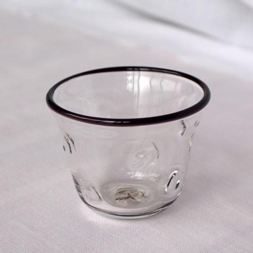 吹きガラス ぐい呑み グラス 黒フチ tonari シンプル つぶつぶ ガラス食器 吹きガラス 手作り|cayest