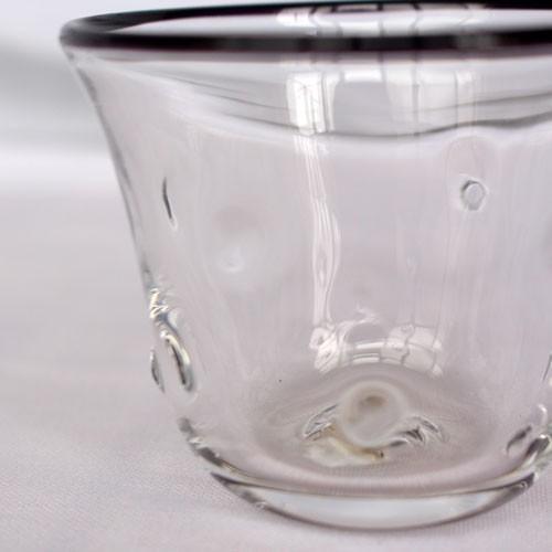 吹きガラス ぐい呑み グラス 黒フチ tonari シンプル つぶつぶ ガラス食器 吹きガラス 手作り|cayest|04