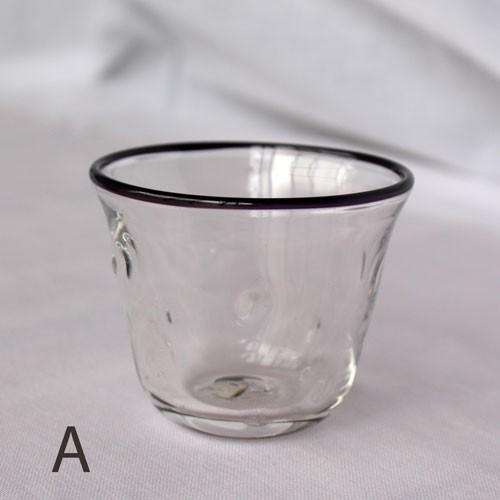 吹きガラス ぐい呑み グラス 黒フチ tonari シンプル つぶつぶ ガラス食器 吹きガラス 手作り|cayest|06
