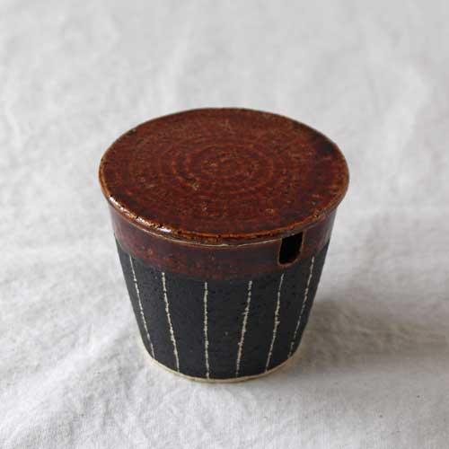 シュガーポット ドット アメ釉 ストライプ 黒 陶器 砂糖入れ おしゃれ 信楽焼|cayest