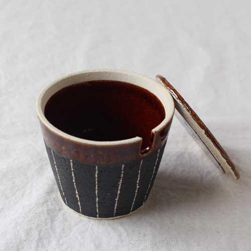 シュガーポット ドット アメ釉 ストライプ 黒 陶器 砂糖入れ おしゃれ 信楽焼|cayest|02