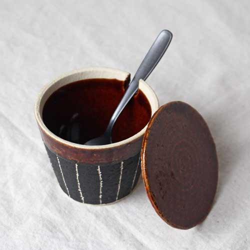 シュガーポット ドット アメ釉 ストライプ 黒 陶器 砂糖入れ おしゃれ 信楽焼|cayest|03