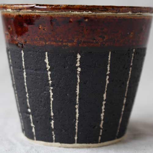 シュガーポット ドット アメ釉 ストライプ 黒 陶器 砂糖入れ おしゃれ 信楽焼|cayest|05