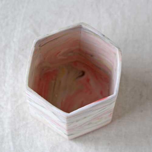 花瓶 花器 六角カップ ピンク 陶器 信楽焼 ヘキサゴン マーブル おしゃれ フラワーベース|cayest|02