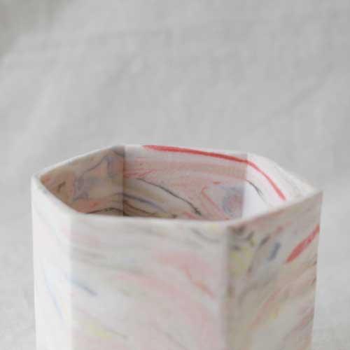 花瓶 花器 六角カップ ピンク 陶器 信楽焼 ヘキサゴン マーブル おしゃれ フラワーベース|cayest|03