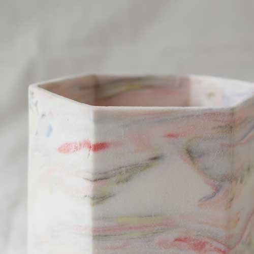 花瓶 花器 六角カップ ピンク 陶器 信楽焼 ヘキサゴン マーブル おしゃれ フラワーベース|cayest|04