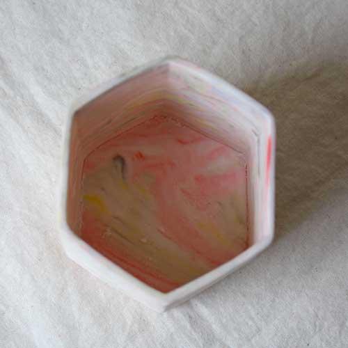 花瓶 花器 六角カップ ピンク 陶器 信楽焼 ヘキサゴン マーブル おしゃれ フラワーベース|cayest|05