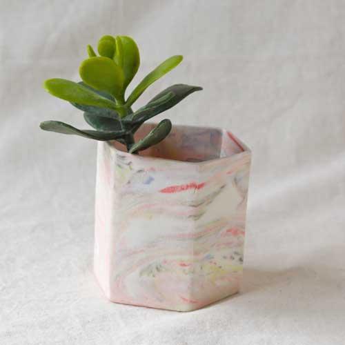 花瓶 花器 六角カップ ピンク 陶器 信楽焼 ヘキサゴン マーブル おしゃれ フラワーベース|cayest|06