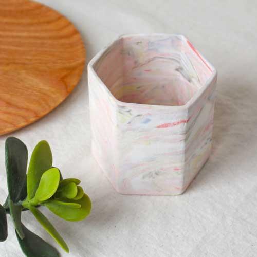 花瓶 花器 六角カップ ピンク 陶器 信楽焼 ヘキサゴン マーブル おしゃれ フラワーベース|cayest|07