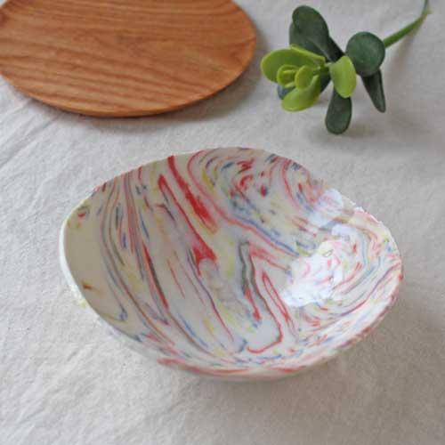 中鉢 小鉢 赤 ピンク マーブル 練りこみ 信楽焼 ボウル 手作り かわいい アート|cayest