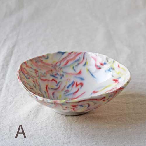 中鉢 小鉢 赤 ピンク マーブル 練りこみ 信楽焼 ボウル 手作り かわいい アート|cayest|02