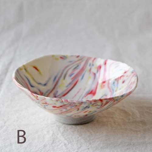 中鉢 小鉢 赤 ピンク マーブル 練りこみ 信楽焼 ボウル 手作り かわいい アート|cayest|07