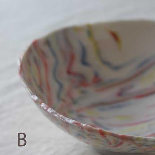 中鉢 小鉢 赤 ピンク マーブル 練りこみ 信楽焼 ボウル 手作り かわいい アート|cayest|08