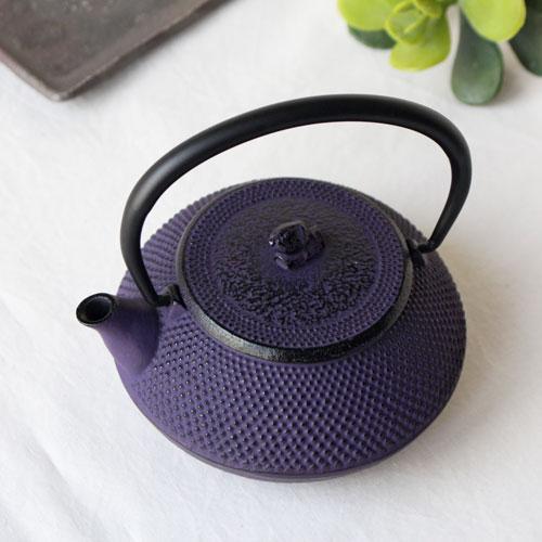 南部鉄器 急須 平丸アラレ0.3L 紫 小さめ かわいい おしゃれ 内側ホーロー加工 日本製|cayest|02