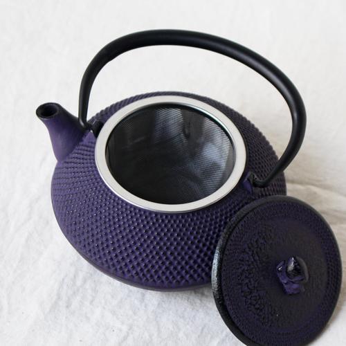 南部鉄器 急須 平丸アラレ0.3L 紫 小さめ かわいい おしゃれ 内側ホーロー加工 日本製|cayest|05