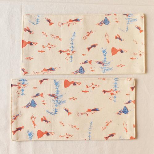 布コースター グッピー 長方形 綿100% 熱帯魚 aosansyo 11cmx22cm シルクスクリーン|cayest|03