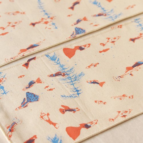 布コースター グッピー 長方形 綿100% 熱帯魚 aosansyo 11cmx22cm シルクスクリーン|cayest|04