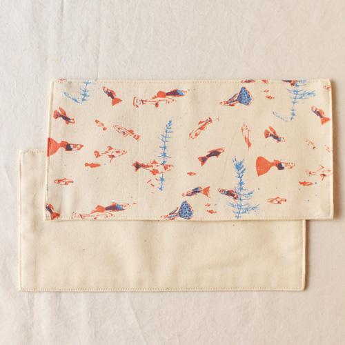 布コースター グッピー 長方形 綿100% 熱帯魚 aosansyo 11cmx22cm シルクスクリーン|cayest|05