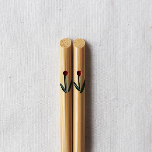 竹箸 チューリップ 23.5cm 大人用 赤/黄 かわいい お箸 国産孟宗竹 日本製|cayest|08