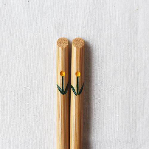竹箸 チューリップ 23.5cm 大人用 赤/黄 かわいい お箸 国産孟宗竹 日本製|cayest|09