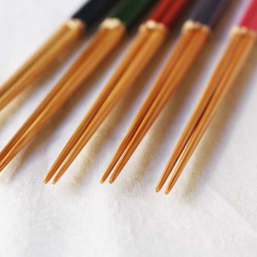 竹箸 ダイヤカット 塗り分け箸 赤/ピンク/緑/紺/紫 22.5cm 細め お箸 国産孟宗竹|cayest|03