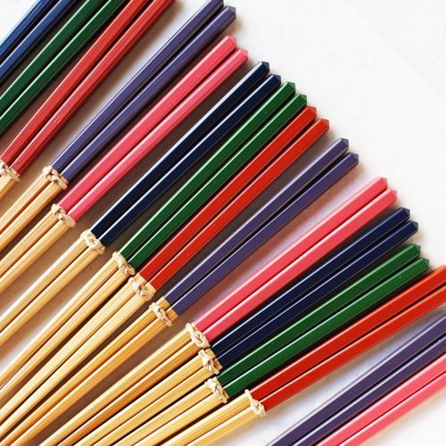 竹箸 ダイヤカット 塗り分け箸 赤/ピンク/緑/紺/紫 22.5cm 細め お箸 国産孟宗竹|cayest|05