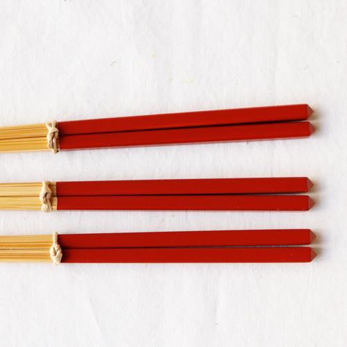 竹箸 ダイヤカット 塗り分け箸 赤/ピンク/緑/紺/紫 22.5cm 細め お箸 国産孟宗竹|cayest|08