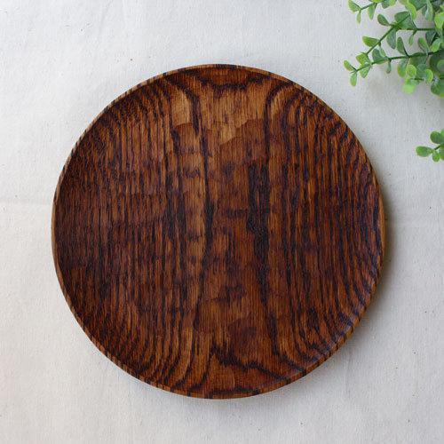 拭漆 丸皿 18cm レッドオーク 甲斐幸太郎 木製食器 漆器 6寸 ノミ目|cayest|02