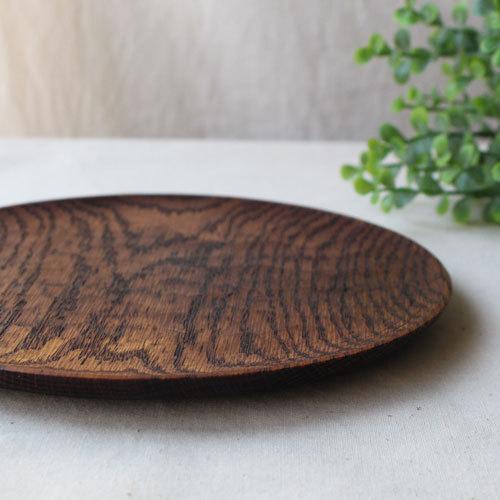 拭漆 丸皿 18cm レッドオーク 甲斐幸太郎 木製食器 漆器 6寸 ノミ目|cayest|04