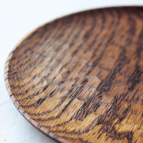 拭漆 丸皿 18cm レッドオーク 甲斐幸太郎 木製食器 漆器 6寸 ノミ目|cayest|05