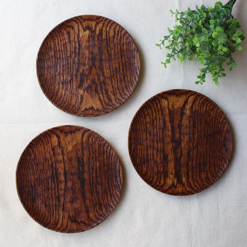 拭漆 丸皿 18cm レッドオーク 甲斐幸太郎 木製食器 漆器 6寸 ノミ目|cayest|08