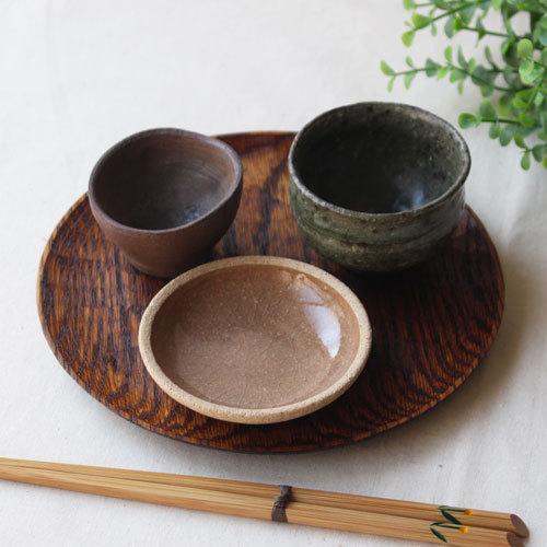 拭漆 丸皿 18cm レッドオーク 甲斐幸太郎 木製食器 漆器 6寸 ノミ目|cayest|09