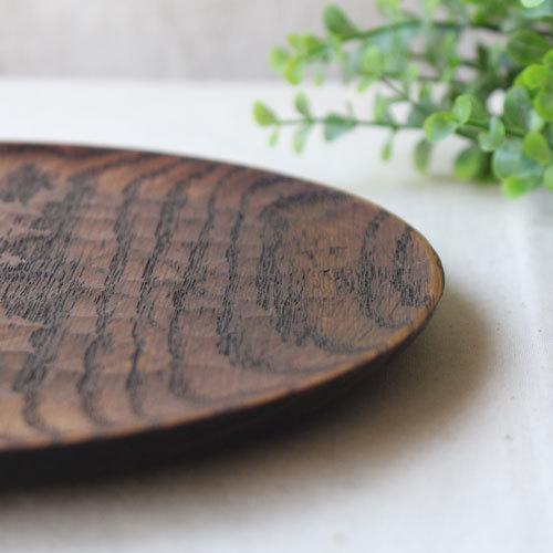 拭漆 丸皿 21cm レッドオーク 甲斐幸太郎 木製食器 漆器 7寸 ノミ目 cayest 04
