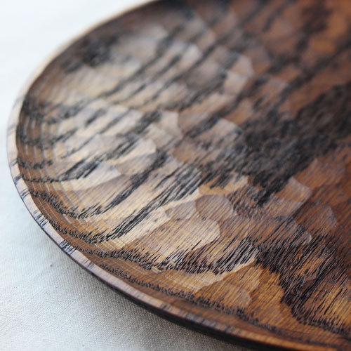 拭漆 丸皿 21cm レッドオーク 甲斐幸太郎 木製食器 漆器 7寸 ノミ目 cayest 05