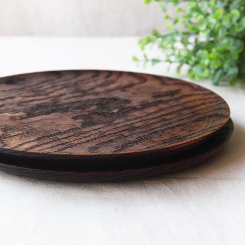 拭漆 丸皿 21cm レッドオーク 甲斐幸太郎 木製食器 漆器 7寸 ノミ目 cayest 07