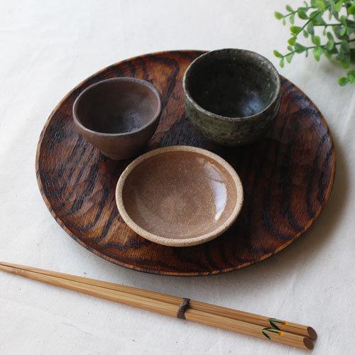 拭漆 丸皿 21cm レッドオーク 甲斐幸太郎 木製食器 漆器 7寸 ノミ目 cayest 08