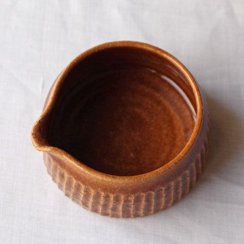 クリーマー 片口 小鉢 キャラメル ミルクピッチャー 陶器 河原崎優子 ブラウン シノギ かわいい cayest 04